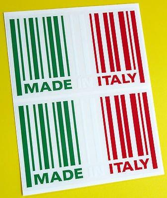 MADE IN ITALY flagge STRICHCODE sticker aufkleber x2 FIAT 500 PANDA ALFA ROMEO LANCIA