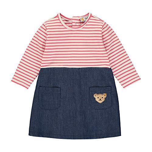 Steiff Baby-Mädchen mit Streifen und Teddybärmotiv Kleid, Rosa (Pink Dove 2203), 68 (Herstellergröße: 068)