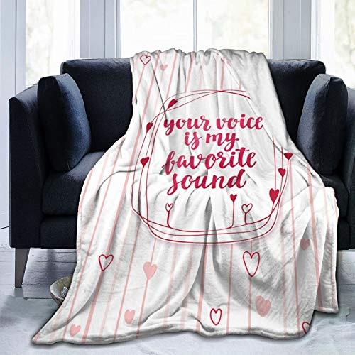 Kanxdecor Ultra-Soft Micro Fleece Blanket,Love Hearts Lines Romantic Print,Home Decor Warm Throw Blanket for Couch Bed80'X 60'