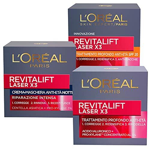L'Oréal Paris Kit Revitalift Laser X3 con Pro-Xylane 1x Trattamento Prodondo Anti-Età 1x Crema Maschera Notte Anti-Età 1x Trattamento Profondo Anti età SPF20 - 3 Prodotti
