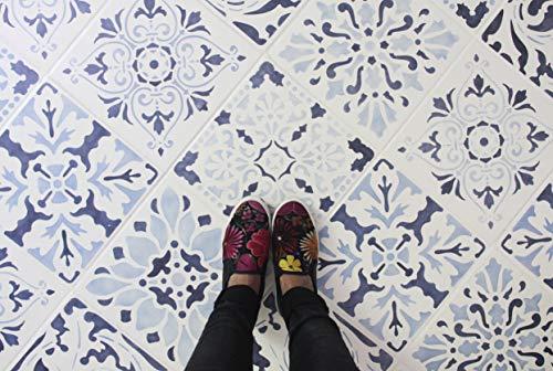 """Renaissance Tile Stencils Set B (Set of 3) Tile Designs to Paint on Kitchen or Bathroom Floors (Large 12""""x12"""")"""