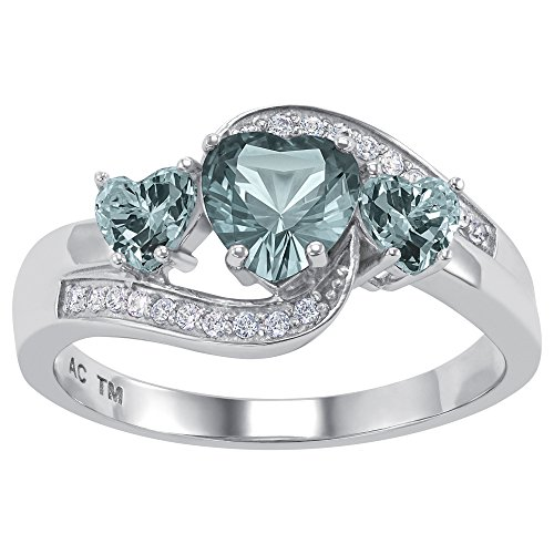 ArtCarved to The Moon Simulated Blue Zircon Birthstone Women's Ring,...