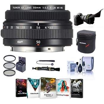 Fujifilm FUJINON GF 50mm F/3.5 R LM WR Lens for GFX Medium Format System - Bundle with 62mm Filter Kit, Lens Case, Flex Lens Shade, Cleaning Kit, Capleash, LenPen Lens Cleaner, Pc Software Package