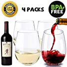 Unbreakable Wine Glasses, Stemless Travel Wine Cup, Crystal Clear, 16Oz Indoor Outdoor Shatterproof Tritan Plastic Tumbler for Vacation, Hot Tub, Hotel, Pool, Patio, Gift, 4 Packs, Big Opening, Safe for Child
