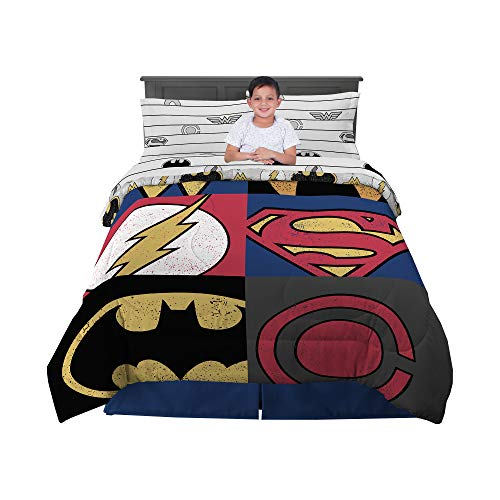 Franco Kids Bedding Comforter and Sheet Set, 5 Piece Full Size, DC Justice League