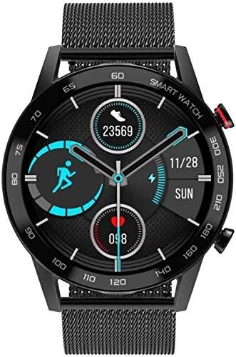 Reloj inteligente Ip68 resistente al agua Soporte de ritmo cardíaco Monitoreo de presión arterial/Recordatorio sedentario/Monitoreo del sueño Correa de metal Pulsera Bluetooth - Negro