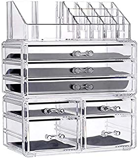 SODIAL New Clear Acrylic Makeup Organizer Large Capacity Storage Box Lipstick Holder Drawers Make Up Organizer Cosmetic Tool Brush Case