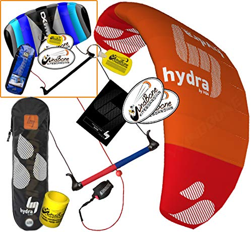 HQ HQ4 Hydra 300 Kiteboarding CX Trainer Kite Bundle : (5 Items) Includes 2ND Control Bar Kite : CX 1.5M Foil Control Bar Trainer Kite + WindBone Kiteboarding Lifestyle Decals +Key Chain +Koozy Cooler
