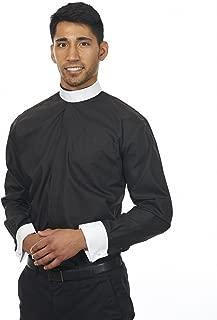 Men's Long Sleeves Full Neckband Clergy Shirt Black (Includes Collar)