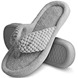 Women's Memory Foam Flip Flop Slippers Open Toe House Shoes Slip on Thong Slippers Cozy comfortable coral fleece Anti-Skid Rubber Sole Indoor Outdoor Sandals Grey 7-8