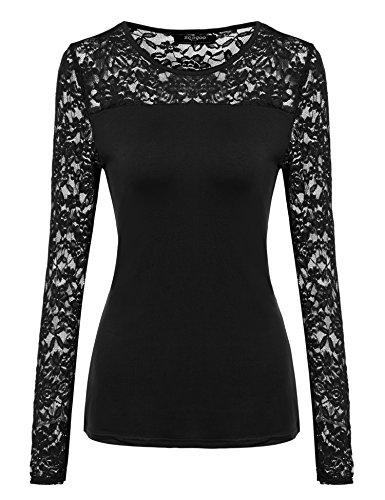 Zeagoo Damen Shirt mit Spitze Langarm Sexy Oberteile Langarmshirt Spitzenbluse Tunika Hemd für Herbst Winter,A_schwarz,L