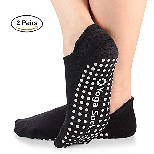 Yoga Socks with Grips for Women Barre Non Skid Socks Pilates Socks 2 Pairs