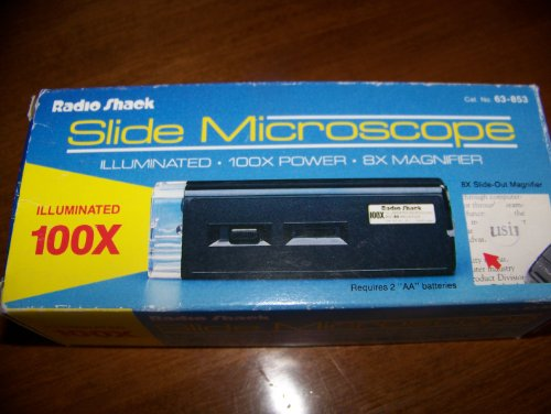 Radio Shack Slide Microscope - Illuminated, 100X Power - 8X Magnifier