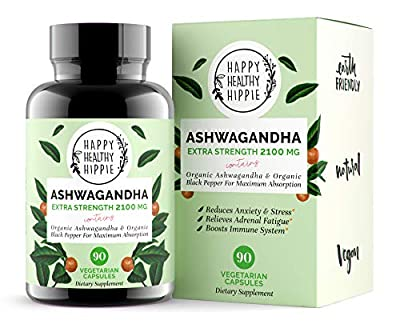 Ashwagandha 2100mg – Fast Superior Absorption – 100% Pure, Potent Organic Ashwagandha Root Powder and Black Pepper - Powerful Natural Stress Relief Supplement - Mood Adrenal Cortisol Anxiety, 90