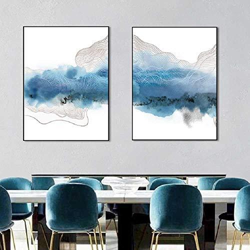 Artm leinwandbild-2x30x50cm-Kein Rahmen-Abstrakte geometische Plakat-Blaue Wandkunst druckt Galerie-Bilder für Büro-Wohnzimmer-Innendekor