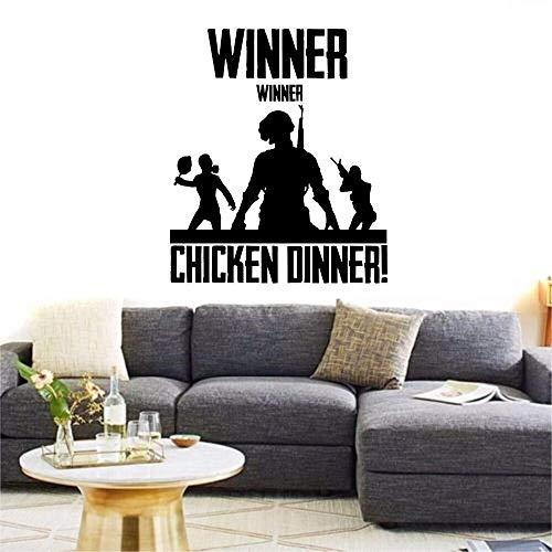 shiyueNB PUBG Winnaar Winnaar Kippendiner Muursticker Xbox PS4 PC Vinyl Decal Game Art Home Decor Quote Jongenskamer Stickers 68x58cm