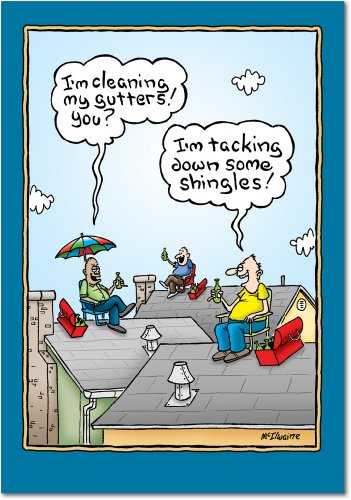 Dad on the Roof - Hard Working Man, Father's Day Card with Envelope (4.63 x 6.75 Inch) - Hilarious Cartoon Appreciation, Happy Fathers Day Note Card - Dad's Day Stationery 0366