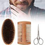 Kit de modelado de barba, Kit de barba Cepillo de barba Peine de peinado de doble cara Kit de modelado de tijeras para hombres(Kit de barba)