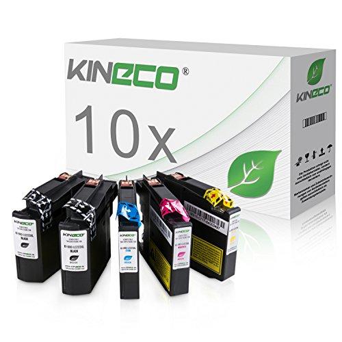 Kineco 10 Tintenpatronen kompatibel für Brother LC-223 LC223 XXL LC-225 LC-227 für Brother MFC-J5320DW, MFC-J5620DW, MFC-J4420DW, MFC-J4620DW, DCP-J4120DW - Schwarz je 20ml, Color je 13ml