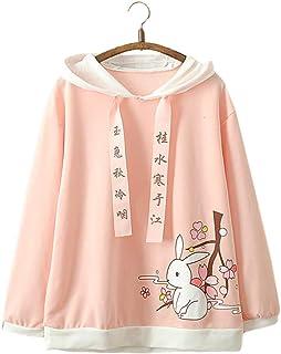 Vdual Kawaii japonés Niña Moda Pastel Rosado Color Conejito Conejo Diseño Linda Confortable Capucha Suéter Pull-Over