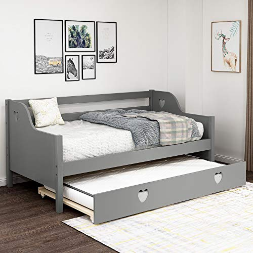 Merax Trundle for Kids, No Box Spring Needed/Easy Assembly, Twin Daybed, Gray