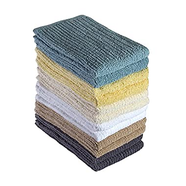 """Bumble 12-Pack Antimicrobial Barmop Kitchen Towels / 16"""" x 19"""" Premium Kitchen Towels/Super Absorbent Heavy Weight Cotton/Ribbed Weave - SPA"""