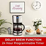 Mueller Ultra Coffee Maker, Programmable 12-Cup Machine, Multiple Brew Strength, Keep Warm 14 The Best Tasting Coffee - Brew a full pot of coffee using your favorite grounds and with brew strength control you can select regular or bold coffee flavor, whatever you like better. Easy Brew & Precise Pouring: Pause and serve function allows for pouring a cup at any time during the brew cycle. Special carafe design ensures drip free and your coffee down to the last drop. Easy Filling - Built-in water reservoir for easy and safe water filling. No more dripping or mess on your countertops.