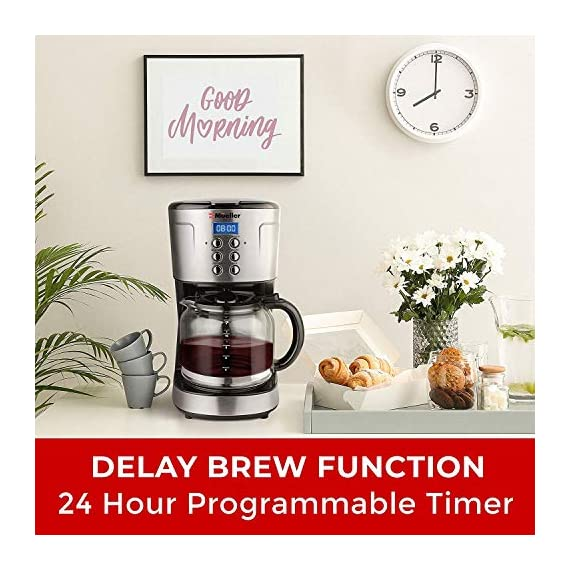 Mueller Ultra Coffee Maker, Programmable 12-Cup Machine, Multiple Brew Strength, Keep Warm 7 The Best Tasting Coffee - Brew a full pot of coffee using your favorite grounds and with brew strength control you can select regular or bold coffee flavor, whatever you like better. Easy Brew & Precise Pouring: Pause and serve function allows for pouring a cup at any time during the brew cycle. Special carafe design ensures drip free and your coffee down to the last drop. Easy Filling - Built-in water reservoir for easy and safe water filling. No more dripping or mess on your countertops.