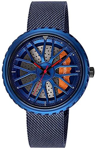 ZFAYFMA Reloj de hombre, diseño hueco de cuarzo impermeable deportivo reloj de coche de acero inoxidable 3D borde Hub reloj regalo velocidad apariencia, azul