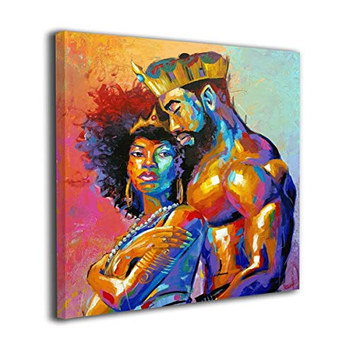 """20""""x20"""" African Queen And King Black American Crown Canvas Prints Modern Lovers Picture Afro"""