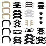 Jerbro 48 Stück Selbstklebende Schnurrbart Ankleben Klebebärte falscher Bärte Party Bart für Weihnachtsfeier Geburtstag und Partei