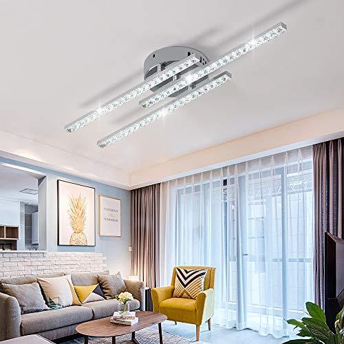 AUA Plafoniera a LED, Lampade da soffitto Cristallo, LED Plafoniera Moderna 3 Bracci Dritto 18W, per...