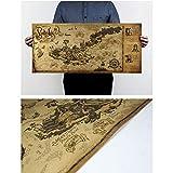 Decoración antigua del mapa del tesoro pirata, mapa de estilo antiguo - Rectángulo - 72x33cm,...