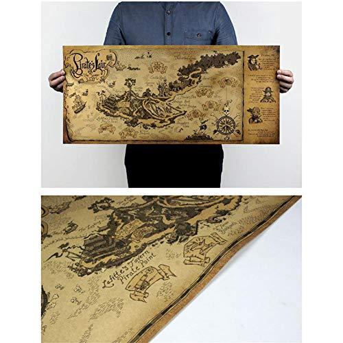 Decoración antigua del mapa del tesoro pirata, mapa de estilo antiguo - Rectángulo - 72x33cm, decoración de la pared del cartel de papel Kraft