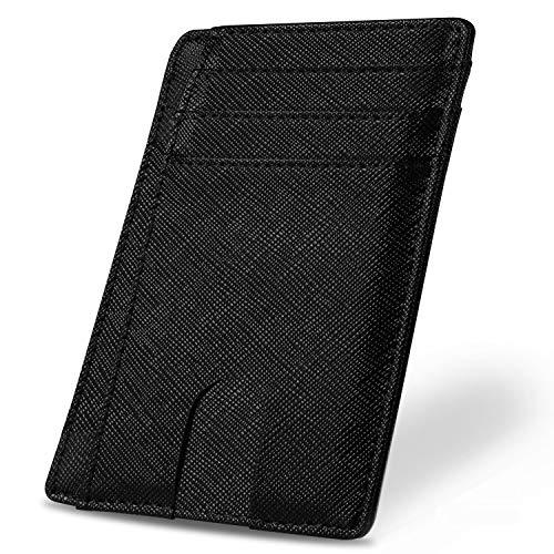 Yosemy Geldbörse mit Geldbörse mit Schutz für RFID Karten Hochwertiges italienisches Leder Ultradünne Außentasche und Platz für bis zu 9 Karten und Bargeld (Schwarz)