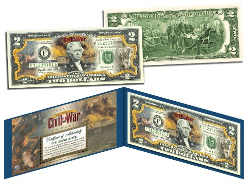 American CIVIL WAR Battle of Fort Sumter Legal Tender U.S. Colorized $2 Bill