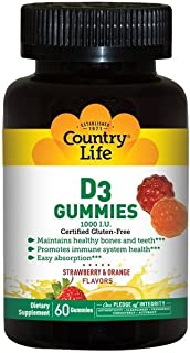 Country Life Vitamin D3 Gummy 1000 iu - 60 Gummies - Deficiency - Immune Health - Healthy Teeth and Bones - Great Taste - ...