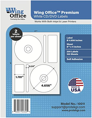 Pro Office Premium 200 CD/DVD Labels Matte Memorex Core Compatible Labels for Laser Printers and Ink Jet Printers, White, Made in USA, Pack of 100