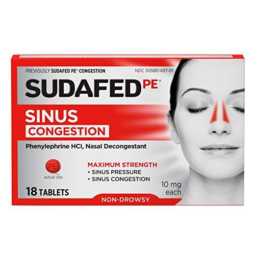 Sudafed PE Sinus Congestion Maximum Strength Non-Drowsy Decongestant Tablets, 18 ct