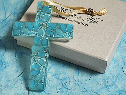 Murano Art Deco Collection Glass Cross C5020 Quantity of 1 by Cassiani