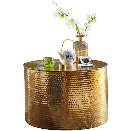 FineBuy Couchtisch Rahim 61 x 40,5 x 61 cm Aluminium Gold Beistelltisch orientalisch rund | Flacher Hammerschlag Sofatisch Metall | Design Wohnzimmertisch modern