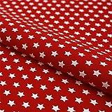 Hans-Textil-Shop Stoff Meterware Sterne 8 mm Weiß auf Rot