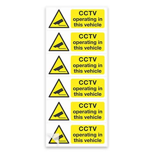 6 CCTV Camera in bedrijf Voertuig borden 8x3cm, auto taxi bus stickers lijm Vinyl Stickers 8 x 3 cm