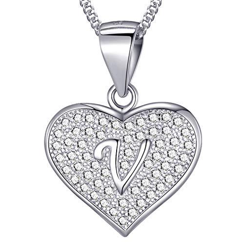 MASADA Collana in Argento 925 - Ciondolo Lettera V a forma di cuore Iniziale con Pietre Zircone - Iniziali Nome per Donna Ragazza - Catena 46 cm Confezione Borsa in Velluto