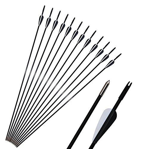 12 Piezas de Flechas de Caza para Tiro con Arco, Flechas de Tiro al Blanco, 32 Pulgadas para Arco clásico Compuesto o Arco Tradicional con Puntas extraíbles