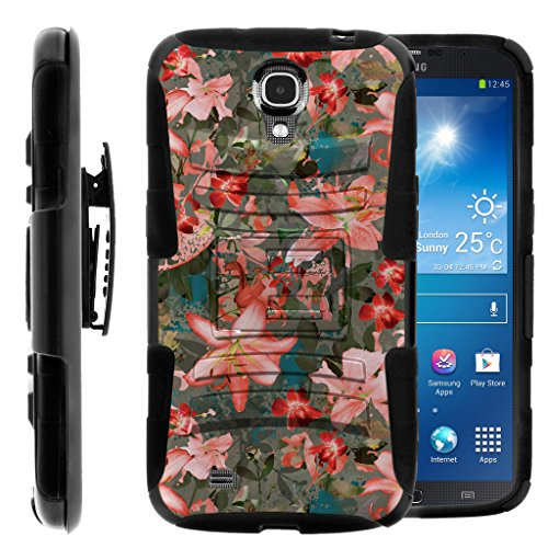 Compatible with Samsung Galaxy Mega Case | Mega 6.3 Case [Hyper Shock] Dual Layer Silicone Hybrid Rugged Belt Clip Impact Stand Case by TurtleArmor - Captivating Pink Floral