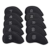 Sword &Shield sports 10Pcs/Pack New Meshy Golf Iron Covers Set Golf Club Head Cover Fit Most Irons (Black)