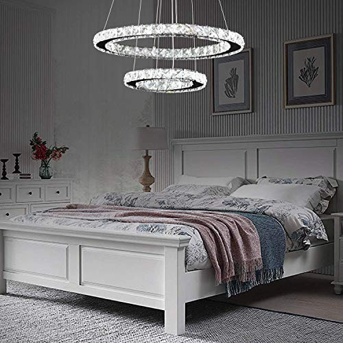 "Kristall LED Kronleuchter, LED Moderne Kristall Kronleuchter Edelstahl Pendelleuchte Deckenleuchte Schlafzimmer Lüster, Lebensdauer bis zu 50.000 Stunden (2 rings, Dia 19.6""+11.8"")"