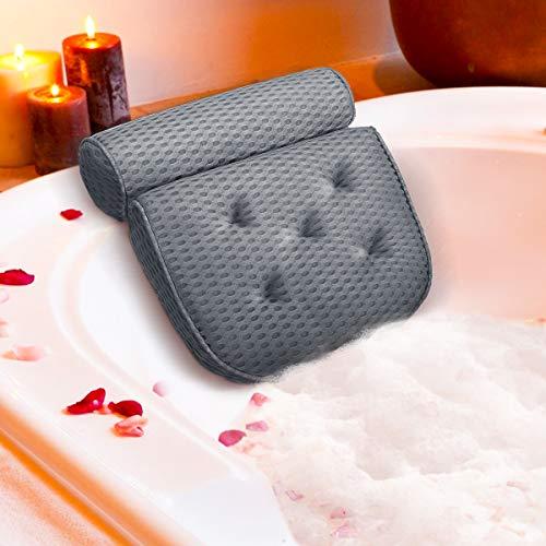 Essort Badewannenkissen, 4D-Air-Mesh-Technologie Komfort badewanne kopfkissen mit 5 Saugnäpfen ist weich und atmungsaktiv badewanne nackenpolste für Home Spa Grau