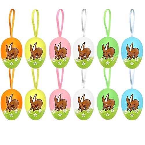 Koqit, 12 uova di Pasqua dipinte a mano da appendere, decorazione pasquale con fantastici motivi, uova decorative in plastica in diverse misure, dimensioni: 6 cm